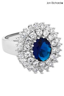 Jon Richard Rhodium Plated Blue Montana Large New Kate Sized Ring