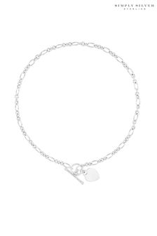Simply Silver Sterling Silver 925 Heart T Bar Necklace