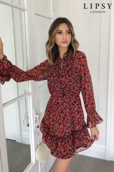 Lipsy Printed Tiered Mini Dress