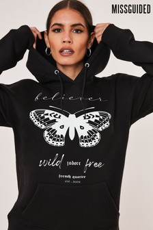 Missguided Butterly Believer Graphic Hoodie