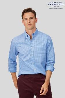 Charles Tyrwhitt Gingham Slim Fit Soft Washed Non-Iron Stretch Poplin Shirt