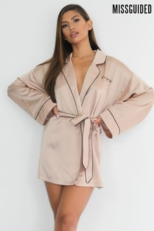 Missguided Embroidered Satin Robe