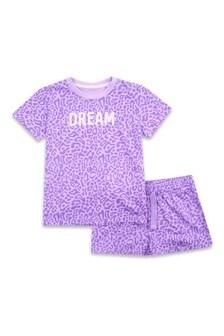 ThreadgirlsKurzärmeliges Pyjamaset mit Top, Hose und Leoprint