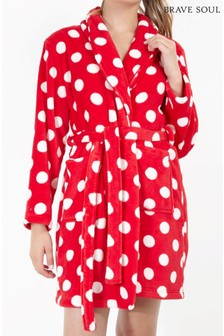 Brave Soul Polka Dot Fluffy Dressing Gown