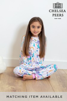 Chelsea Peers NYC Kids Rainbow Unicorn Button Up Eco Long PJ Set