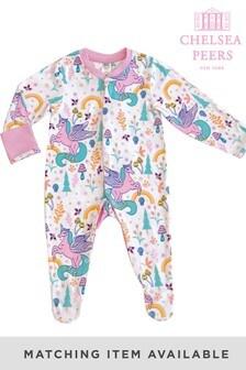 Chelsea Peers NYC Baby Rainbow Unicorn Button Up Eco Pj Set