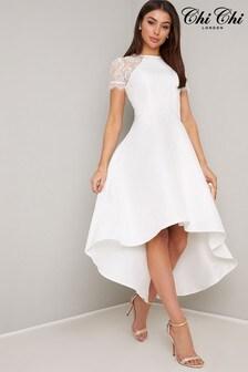 Chi Chi London Lace Dip Hem Dress