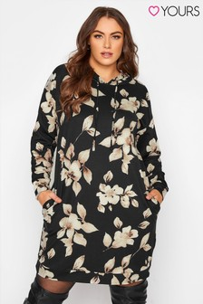 Yours Mono Floral Hoodie