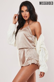 Missguided Satin Cami Frill Short Set