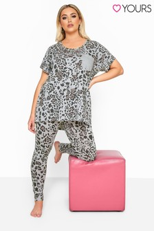 Yours Curve Leopard Print Legging Pyjama Set