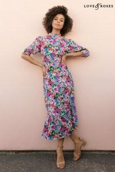 שמלת מידי פרחונית עם צווארון גבוה שלLove & Roses