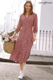 Love & Roses Printed Midi Shirt Dress