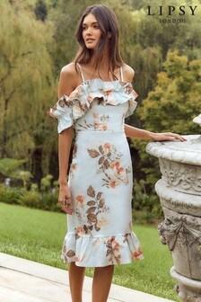 Lipsy Ruffle Bardot Midi Bodycon Dress