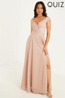 Quiz Glitter Wrap Front Split Maxi Dress