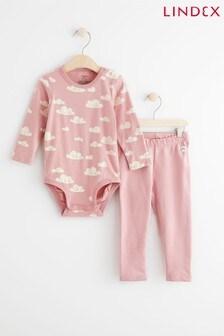 סט לתינוק של Lindex: בגד גוף עם שרוול ארוך ומכנסי טייץ