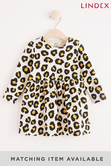 Lindex嬰兒裝長袖豹紋印花連衣裙