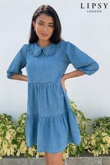 שמלת ג'ינס שכבות ועם צווארון של Lipsy