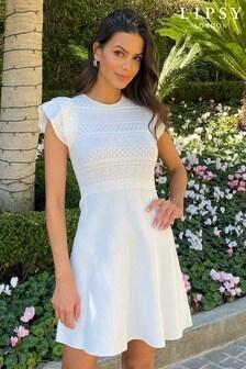 Lipsy Pointelle Ruffle Knitted Dress