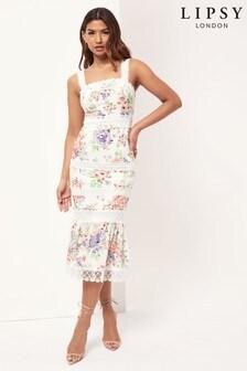 Lipsy Lace Trim Linen Midi Dress