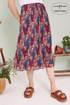 חצאית מידי של Love & Roses עם קפלים בהדפס טלאים