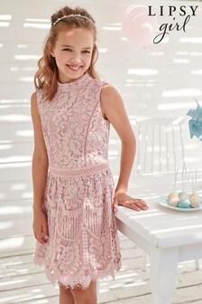 שמלת תחרה עם עיטור מטאלי לאירוע לבנות של Lipsy