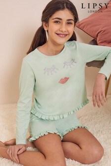 Lipsy Long Sleeve Frill Short PJ Set
