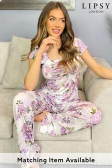 חולצת פיג׳מה מבד ג׳רזילשילוב והתאמה שלLipsy
