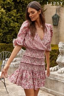 Lipsy Wrap Shirred Mini Dress