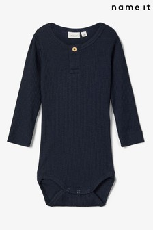Name It Ribbed Three-Quarter Sleeve Baby Bodysuit
