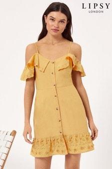 שמלה מכופתרת של Lipsy עם כתפיים חשופות