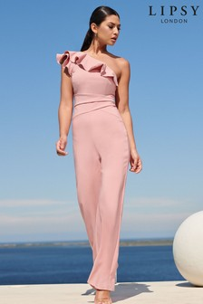 Lipsy One Shoulder Ruffle Jumpsuit (R81179)   $84