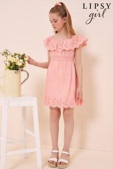 Lipsy Bardot Frill Broderie Dress