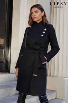 Пальто на пуговицах в стиле милитари из ткани с добавлением шерсти Lipsy
