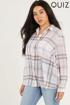 חולצת שיפון עם משבצות של Quiz למידות גדולות