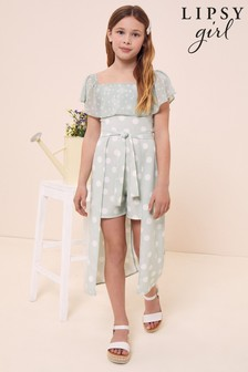 Lipsy Hi Low Belted Playsuit