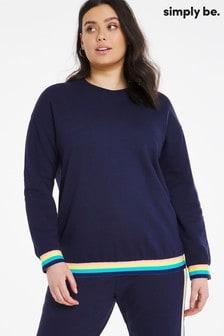 Simply Be Rainbow Trim Sweatshirt