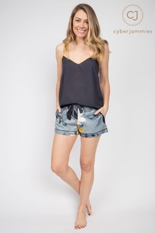 Cyberjammies Rachel Charcoal Cami and Floral Print Short