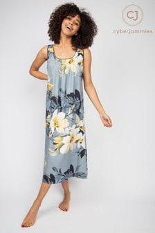 Cyberjammies Rachel Grey Floral Long Nightdress