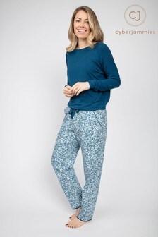 פיג'מה של Cyberjammies דגם Maria עםחולצה בגזרה משוחררת ומכנסיים בהדפס עלים גיאומטרי בצבע טורקיז עמוק