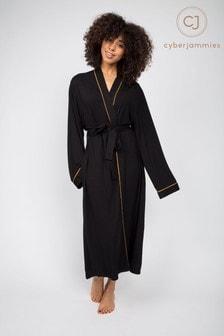 Cyberjammies Annie Black Knitted Long Dressing Gown