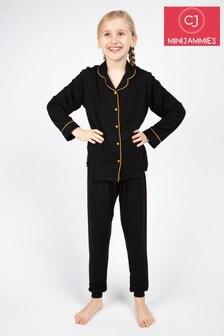 Cyberjammies Annie Black Knitted Revere PJ Set