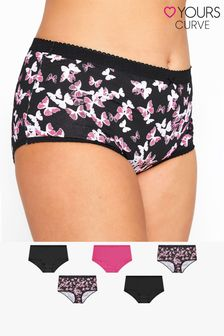 Yours 5 Pack Butterfly Print Full Briefs