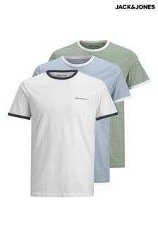 מארז 3 חולצות של Jack & Jones בצבעים שונים עם גימור פס
