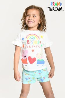 Brand Threads Girls Peppa Pig Short Pyjamas
