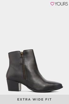 Черные кожаные ботильоны в ковбойском стиле для широкой стопы Yours