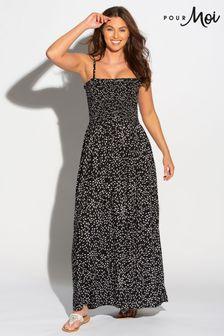 فستان ماكسي بحمالات يمكن إزالتها منPour Moi