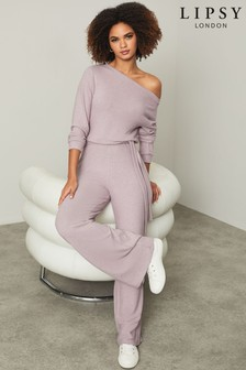 Lipsy Lounge Cowl Neck Cosy Jumpsuit (R97014)   $50