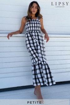 Lipsy Shirred Strappy Midi Dress