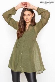 חולצת שיפון במרקם מנוקד של Long Tall Sally לגבוהות בגזרת פפלום בצבע חאקי