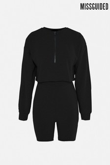 Missguided Coord Half Zip Sweat Cycling Short Set